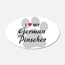I Love My German Pinscher 22x14 Oval Wall Peel