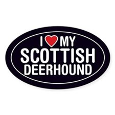 I Love My Scottish Deerhound Oval Sticker/Decal