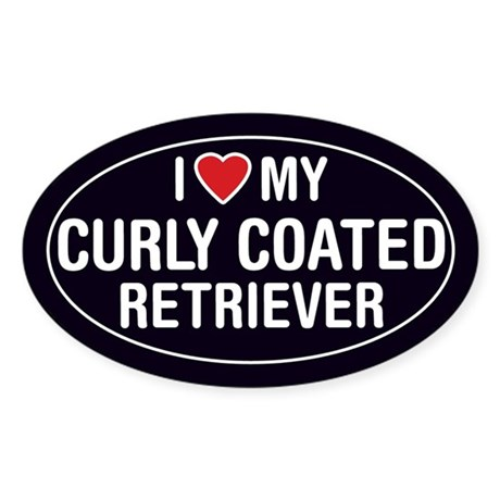 ILove My Curly Coated Retriever Oval Sticker/Decal