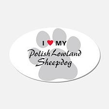 Polish Lowland Sheepdog 22x14 Oval Wall Peel