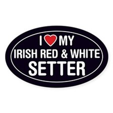 Love My Irish Red & White Setter Sticker/Decal