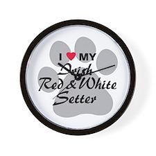 Irish Red & White Setter Wall Clock