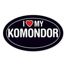 I Love My Komondor Oval Sticker/Decal