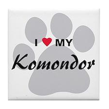 I Love My Komondor Tile Coaster