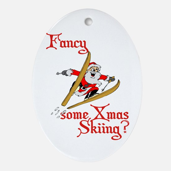 Skiing Santa Claus Ornament (Oval)