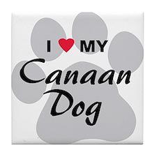 I Love My Canaan Dog Tile Coaster