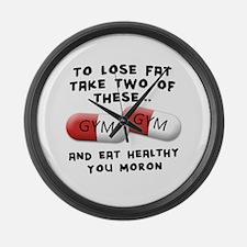 Eat Healthy you moron Large Wall Clock