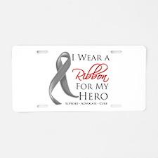 Hero Ribbon Brain Cancer Aluminum License Plate