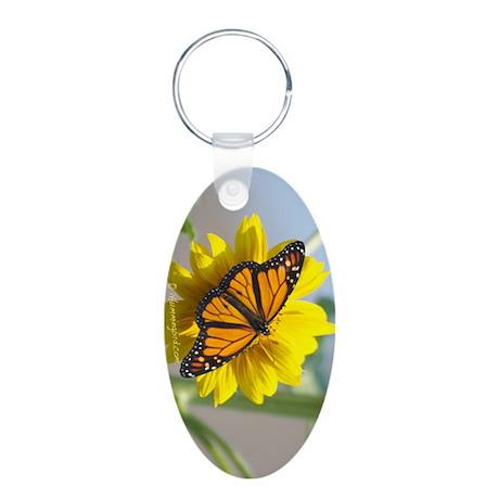 Monarch Sunflower Aluminum Oval Keychain