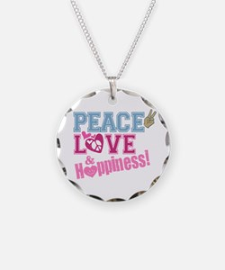 Peace Love and Happiness Necklace Circle Charm