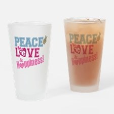Peace Love and Happiness Drinking Glass