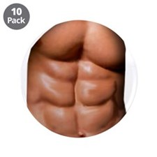 "Ripped Abs 3.5"" Button (10 pack)"