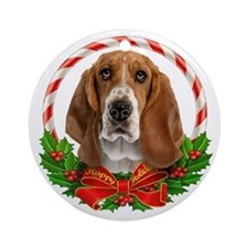 Basset Wreath Ornament (Round)
