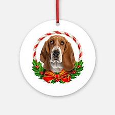 Basset Wreath Ornament (Round)