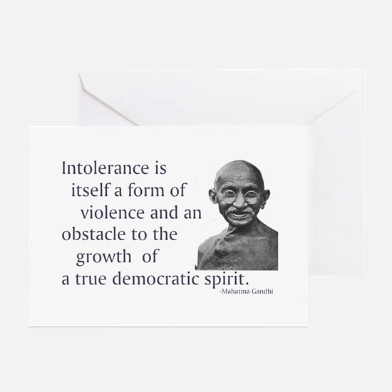 Gandhi quote - Intolerance is Greeting Cards (Pack