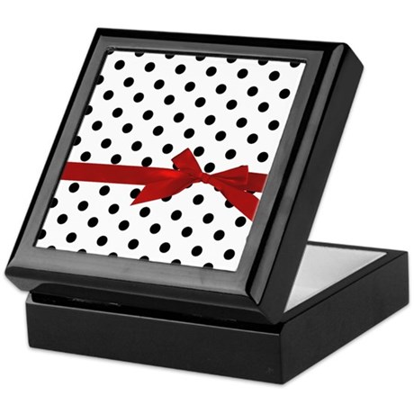 Black Polka Dots Keepsake Box