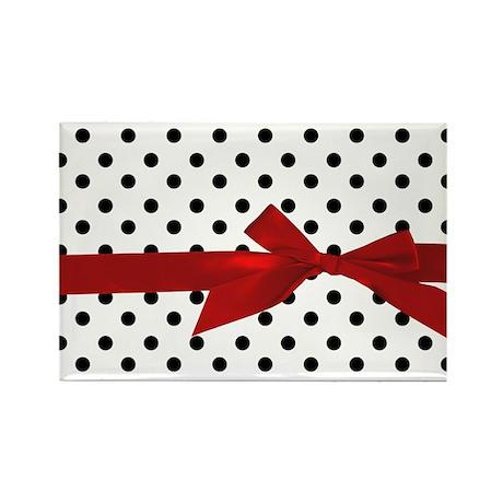 Black Polka Dots Rectangle Magnet (100 pack)