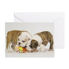 BULLDOG PUPPIES PLAYING Greeting Card