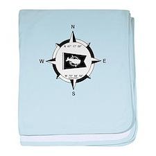 Nantucket MA - Compass Design baby blanket