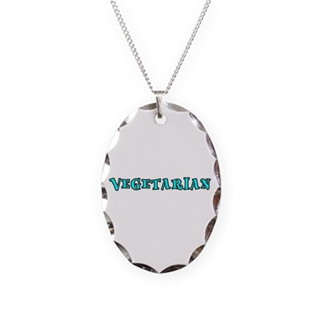 Vegetarian Necklace Oval Charm