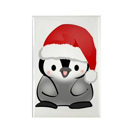 Cute Holiday Penguin Rectangle Magnet