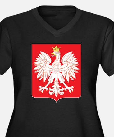 Polish Eagle Red Shield Women's Plus Size V-Neck D