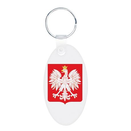 Polish Eagle Red Shield Aluminum Oval Keychain