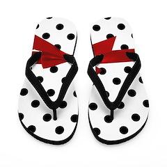 Black Polka Dots Flip Flops