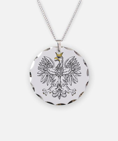 Polish Eagle With Gold Crown Necklace Circle Charm