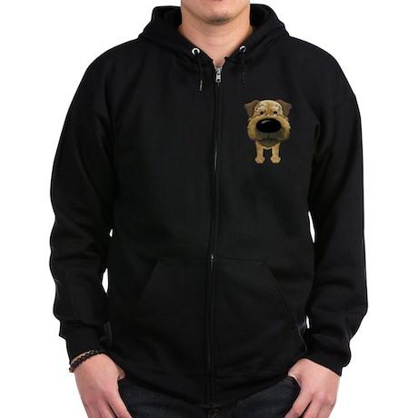 Big Nose Border Terrier Zip Hoodie (dark)