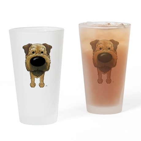 Big Nose Border Terrier Drinking Glass