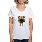 Big Nose Border Terrier Women's V-Neck T-Shirt