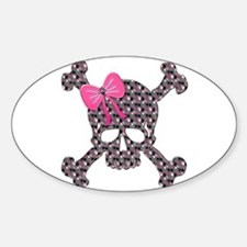 Heart Skull pink flowers copy Decal