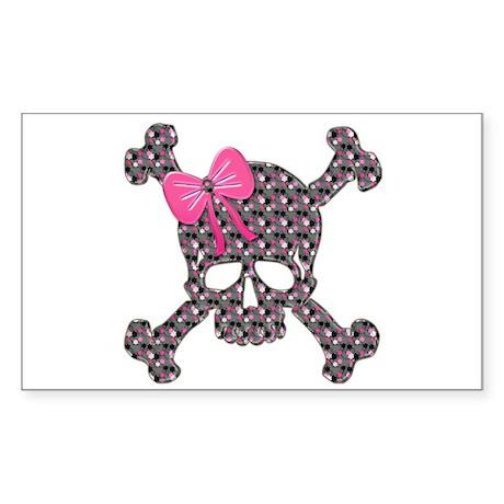 Heart Skull pink flowers copy Sticker
