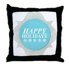 Snowflake blue Holidays Throw Pillow