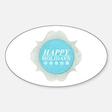 Snowflake blue Holidays Sticker (Oval)