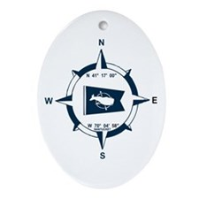 Nantucket MA - Compass Design Ornament (Oval)