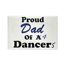 Dad of 4 Dancers Rectangle Magnet