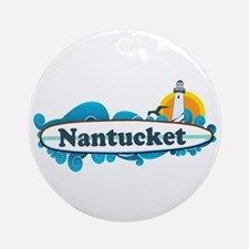 Nantucket MA - Surf Design. Ornament (Round)