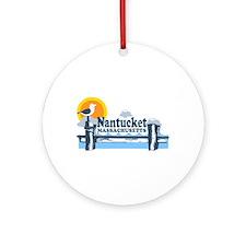 Nantucket MA - Pier Design Ornament (Round)