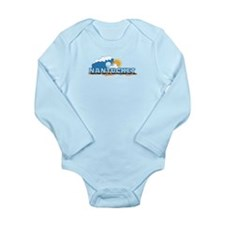 Nantucket MA - Waves Design. Long Sleeve Infant Bo