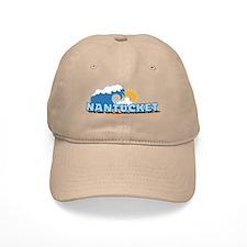 Nantucket MA - Waves Design. Baseball Cap