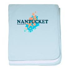Nantucket MA - Seasshells Design baby blanket