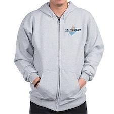 Nantucket MA - Seasshells Design Zip Hoodie