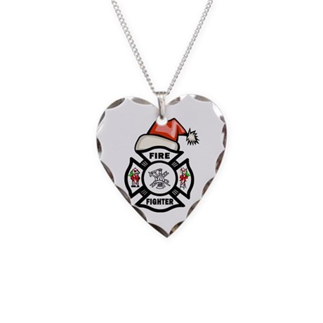 Firefighter Santa Necklace Heart Charm