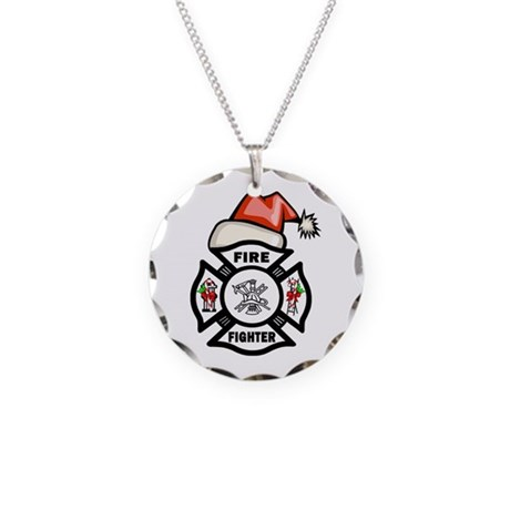 Firefighter Santa Necklace Circle Charm