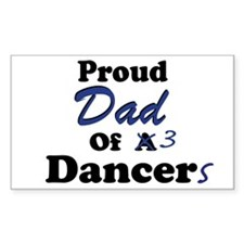 Dad of 3 Dancers Rectangle Stickers