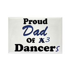Dad of 3 Dancers Rectangle Magnet