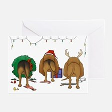 Bloodhound Butt Xmas Greeting Cards (Pk of 20)