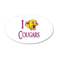 I Love Cougars Cougar Town 22x14 Oval Wall Peel